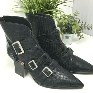 Leather Ankle Boots with Snakeskin-Effect Buckled